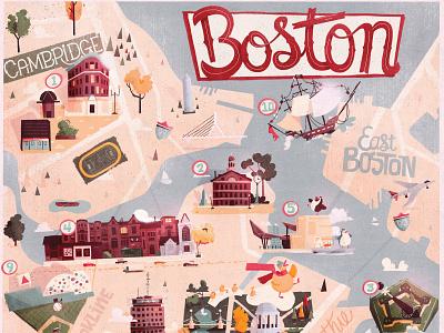 Uber Boston clouds illustration uber design neighborhood building brown stone illustrated map map lettering mass new england cambridge boston poster uber