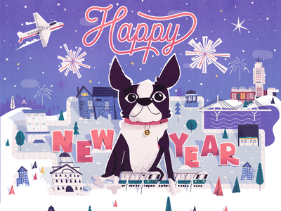BU law holiday card trees holiday cars fireworks landscape bridge illustration boston terrier boston terrier