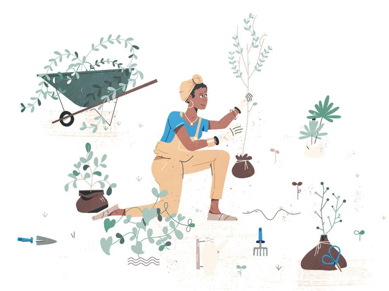 Staying Philanthropic finance woman illustration illustration woman bandana wheelbarrow tree process community help plants trees philanthropy