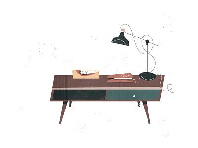 Coffe Table tablet simple icon illustration mid century modern midmod midcentury lamp stapler tape coffee table