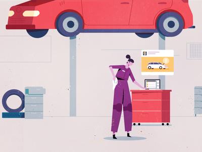 Facebook Car Scene character illustration facebook laptop mechanic shop keyframe animation mograph industrial garage automotive car