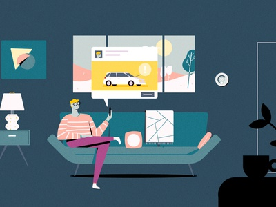 FB Couch illustration glasses living scene facebook animation iphone modern mcm midcentury lamp home living room couch