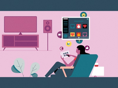 FB iPad ipad pro reading illustration fern plant tv mcm midcentury modern cozy living room lamp music chair speakers couch ipad