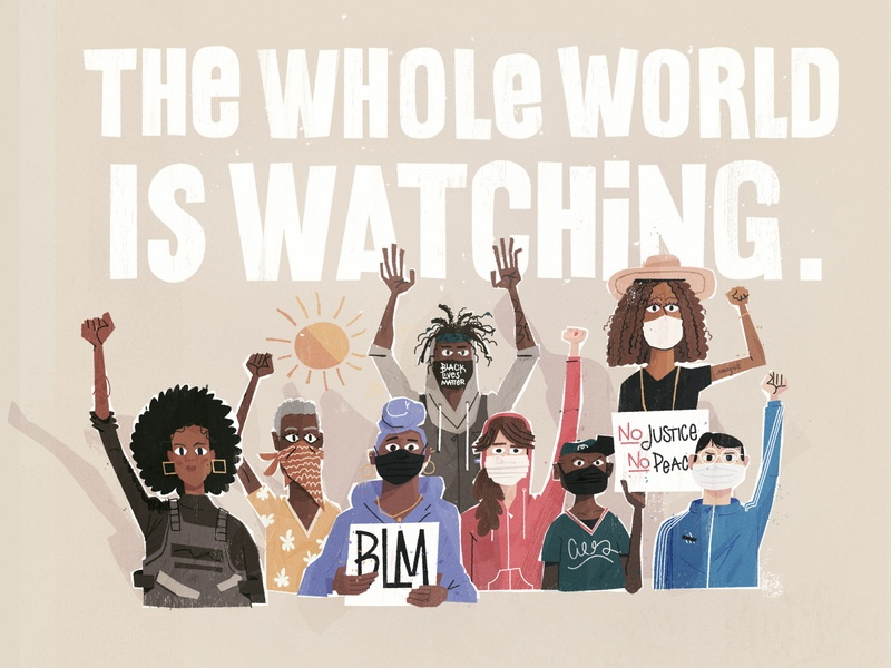 The whole world is watching character illustration black lives matter