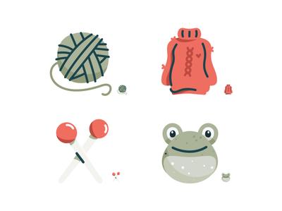 Ravelry Icon Set icons set illustration pencil emoji set emoji icon set sweater frog yarn crochet knitting iconography icons