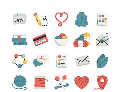 Ravelry icons sweater pencil yarn ball yarn simple illustraion illustrator vector icon set crochet knitting icons set