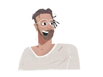 Mograph Mathijs headshot beard portrait glasses sweater illustration art avatars avatar character illustration
