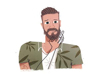 Mograph Mentor Colin headshot character design avatars avatar beard floral flowers character illustration