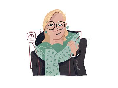 Mograph Lana avatar character design earrings hiking hiker backpack glasses scarf illustration portrait character