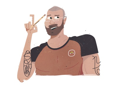 MM Steve tattoos tattoo vector illustrator beard pencil glasses portrait avatar character design illustration character