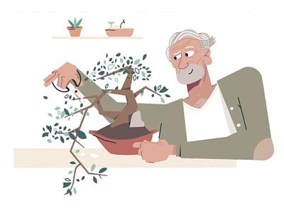 Bonsai cutting scissors succulents trees wrinkle senior old man sweater home hygge plants succulent plant tree bonsai