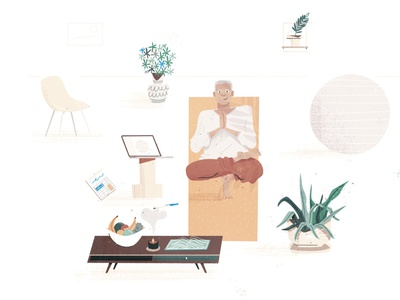 Balance laptop relax calm character design character illustration illustrator namaste leaf plants yoga