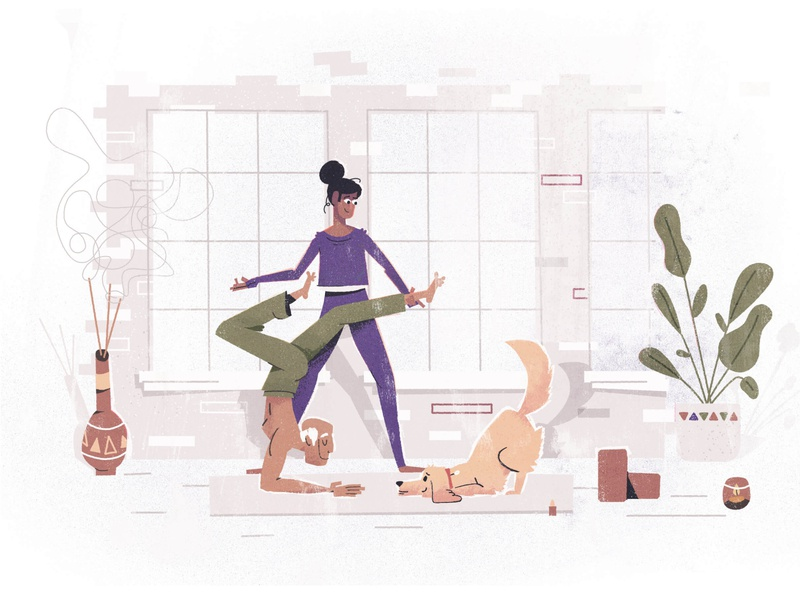 Small businesses: yoga namaste candle plants dog studio calming texture vector saas helping character design illustration character yoga