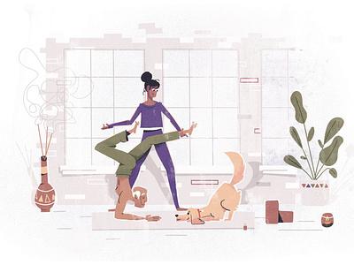 Small businesses: yoga namaste candle plants dog studio calming texture vector saas helping character design illustration character yoga