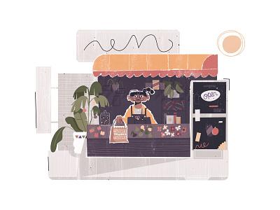 Thanks thanks thanks Bodega illustration branding brand illustration character design city street open pigtail woman store convenience flowers plants bag thanks shop small business bodega