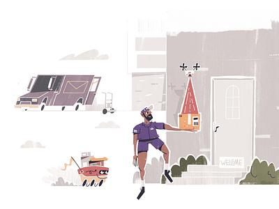 Postal worker robot mail deliver delivery package software tech integration character illustration illustrator ups