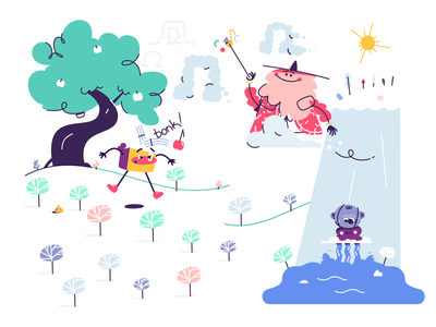 Musical awakening quest 1 minimal illustrator vector magical magic wizard waterfall trees landscape tree apple kids playful whimsical musical music clouds simple character illustration