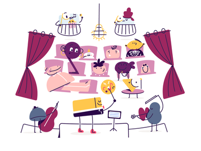 Musical styles quest 2 stage curtains chairs character symphony boston education musical music fun playful whimsical characters character design illustration conductor opera house opera