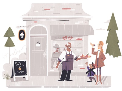 Small Business: Chocolate Shop illustrations brand illustration vector city business small business chocolate bar photoshop vignette winter jacket character gift town downtown candy shoppe shop chocolate illustration