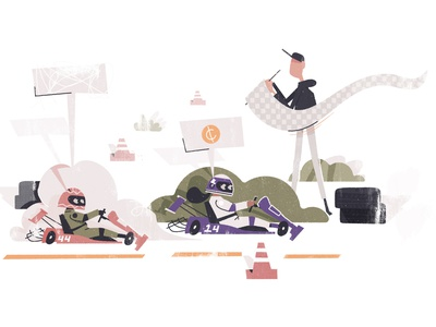 Small Businesses - Go Karts karthick studios race car competitive competition kids speeding flag race racing car kart go karts simple character illustration