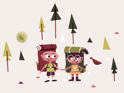 Wedding couple backpacks 2d flat illustration illustration character wedding glasses hiking hike nature outdoors holding hands trees love couple friends backpack