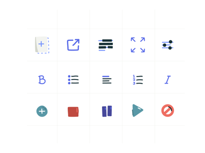 Ravelry icons 2 illustrator vector tools stop pause play minimal playful icon set 48px bold iconography illustration