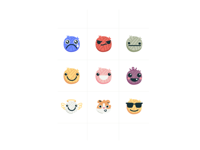Ravelry emojis ui character expression emojis illustrator vector smiley smile angel cool cute characters crafty crafts diy knit knitting ravelry emoji