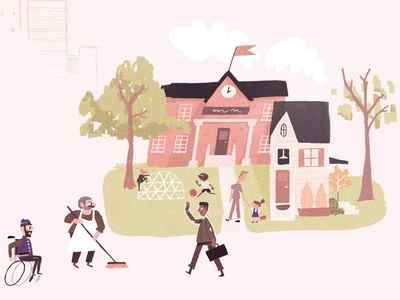 School Community boston school app midcentury flat character design characters illustration texture retro friends family playing kids playground wheelchair sweeping briefcase community school