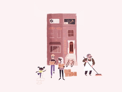 Sweep and move brick flat character design character illustration new york boston brownstone sweeping sweep community family friends love boxes moving