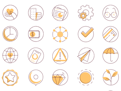 Monoweight icons heart glasses credit card badge star growth umbrella diamond reports warning illustration yellow icon set icons iconography minimal simple linework monoweight mono