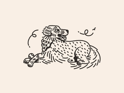 wicket tattoo tongue bandana ink golden line work animal golden retriever dog tattoo minimal simple character illustration