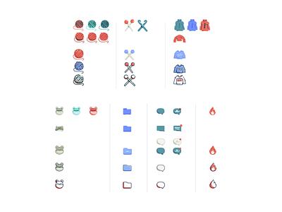 Ravelry style development style icon set illustration icon emoji frog flame fire chat message craft hooks yarn knitting sweater wip development