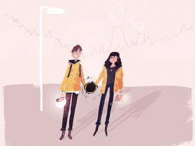 Dark boston dark ui friends holding hands love flash light rain jacket raincoat jacket yellow visdev character illustration fan art netflix dark
