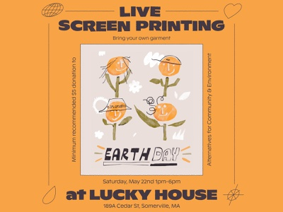 Earth Day Poster boston simple character illustration earth day gig opster printing flowers flower poster help earth