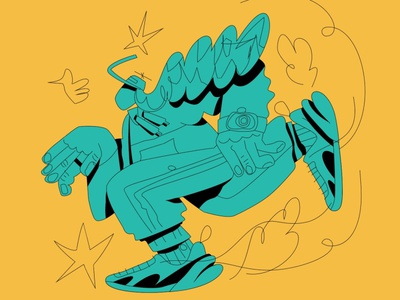 Running silly playful whimsical athletic runner running character design boston simple character illustration