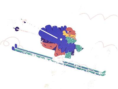 Ski slow winter jacket fast ski skiing snow character design character illustration