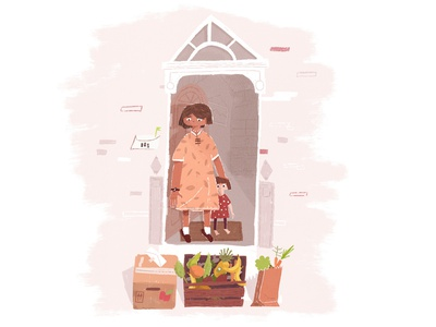 Grocery Delivery new york texture flat door market vegetables produce grocery mother family character illustration