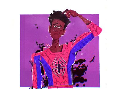 Miles illustrator vector character design illustration character spider spiderverse mile marvel spiderman spider-man