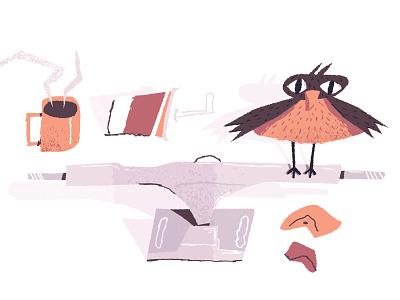 SkateBird essentials flat flat illustration spot illustration grain texture cup soda coffee skateboard bird simple chracter illustration
