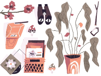 Items essentials gear stick illustration flat illustration vinyl album flower orchid monstera plant doom mf doom hat