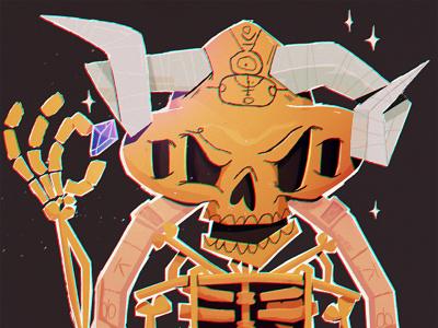 Grim Syndicate Remix boston angry skele illustrator grim syndicate cyrpto bones horns gold evil flat texture skeleton skull character illustration nft