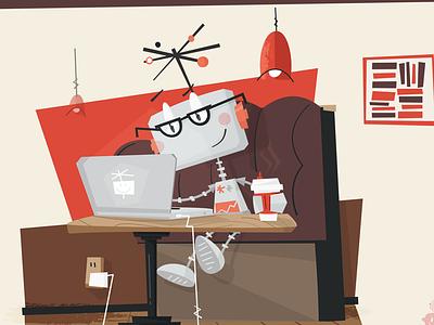 Google Plus google plus google social illustration character robot coffee laptop reading glasses