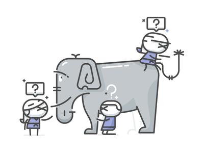 Blind Men & Elephant elephant blind illustration minimal simple