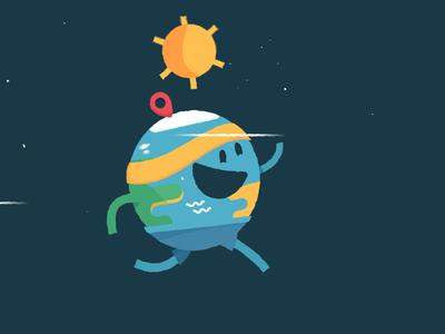 Earth Day Run Cycle Still earth earth day globe character sun illustration run