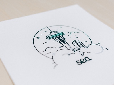 Simple Seattle Print illustration massachusetts boston print shop seattle washington landmark sky space needle minimal simple