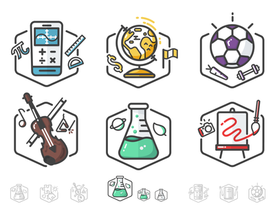 DonorsChoose.org Badges chemistry biology music art sports flask beaker science illustration icon simple badge