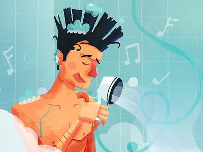 Bueller ferris bueller soap mohawk singing shower illustration movie