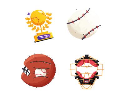 Facebook Baseball Props catcher catchers mit glove ball trophy mask baseball facebook props stickers