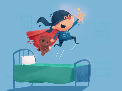 Boy Hero mask cape jump bounce bed stuffed animal bear teddy illustration childrens super hero