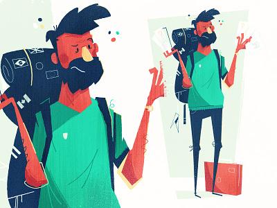 Traveling character massachusetts boston luggage backpack traveling travel beard character traveler
